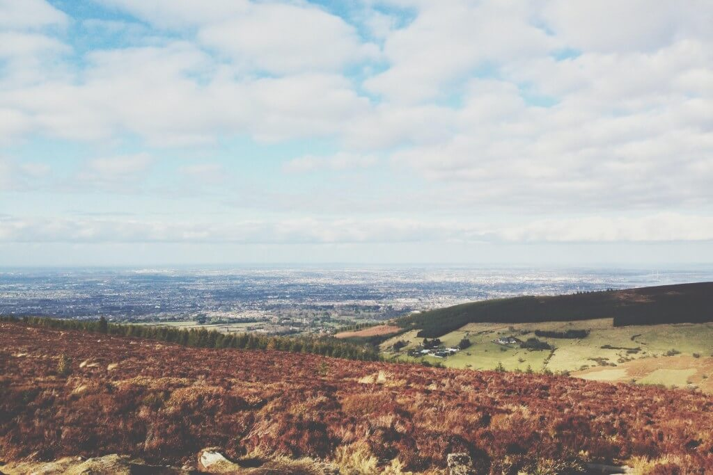 View of the city sprawl from the Dublin Mountains.